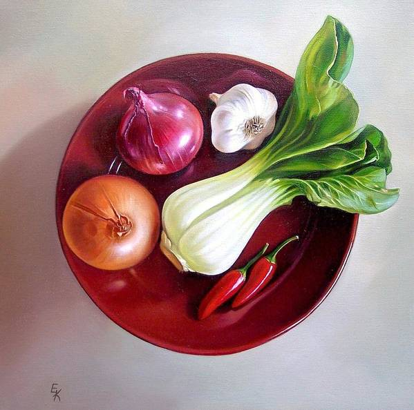 Still Life Poster featuring the painting Summer Plate 2 by Elena Kolotusha