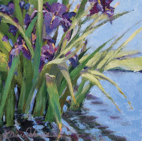 Purple Iris In Water Poster featuring the painting Sun Day - Iris In A Pond by L Diane Johnson