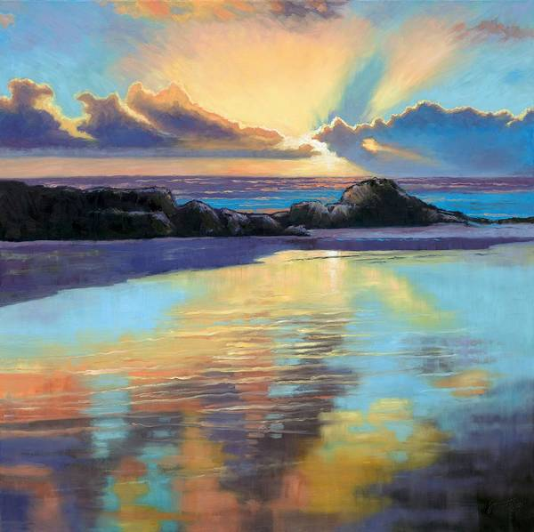 Beach Poster featuring the painting Sunset At Havika Beach by Janet King