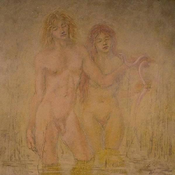 Nude Poster featuring the painting Swamp Boy And Girl by Terrell Gates