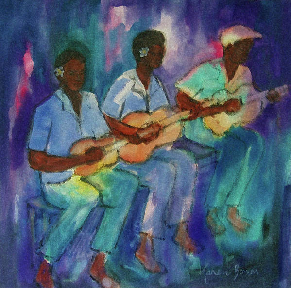 Band Boys Fiji Guitar Ukelele Pacific Tropical Serenade Poster featuring the painting The Band Boys by Karen Bower