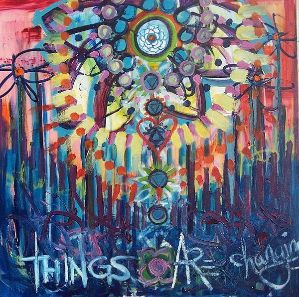 Flowers Poster featuring the painting Things Are Changing by Lili Lovemonster