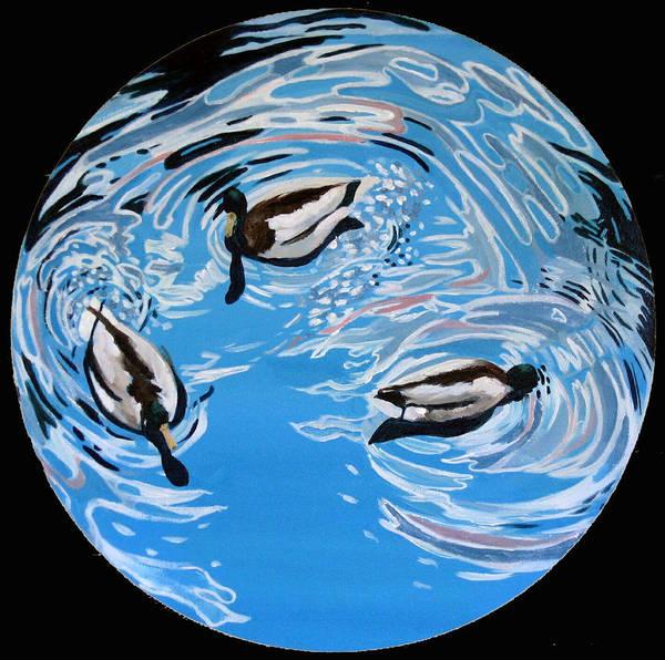 Ducks Poster featuring the painting Three Ducks by Art Nomad Sandra Hansen
