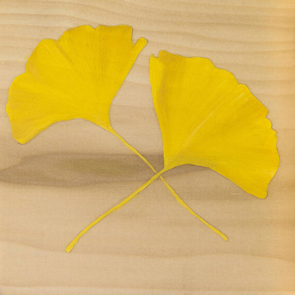 Two Yellow Leaves Poster featuring the painting Two Yellow Leaves by Heather Strazza