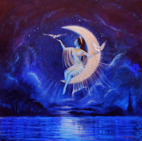 Tones Of Blue Permeate Everywhere... Thecrescent Moon Allows A Beautiful Being To Be Uplifted To The Wisdom And The Light... The Sea Beneath.... Shimes Poster featuring the painting Universal Wisdom by Silvia Duran