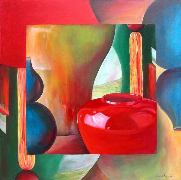 Still Life Poster featuring the painting Vases by Muriel Dolemieux