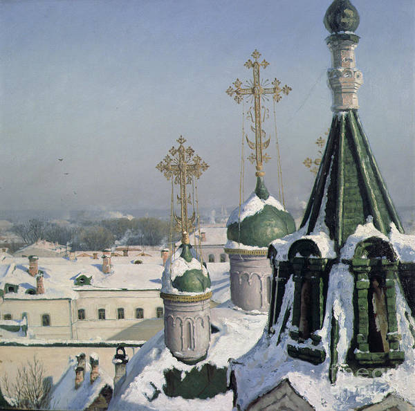 View Poster featuring the painting View From A Window Of The Moscow School Of Painting by Sergei Ivanovich Svetoslavsky
