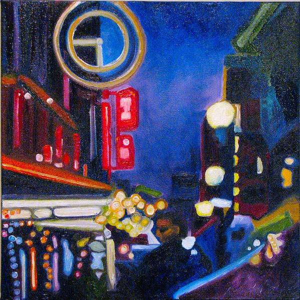 Night Scene Poster featuring the painting Wandering At Dusk by Patricia Arroyo