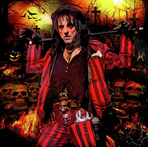 Alice Cooper Poster featuring the digital art Welcome To My Nightmare by Mal Bray