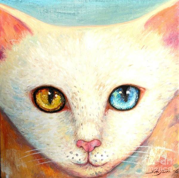 Portrait Poster featuring the painting White Cat by Shijun Munns