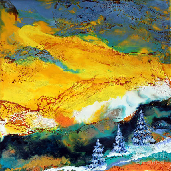 Abstract Landscape Poster featuring the painting Winter Solstice Iv by Rebecca Myers