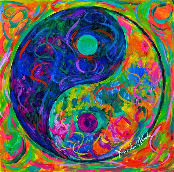 Yin Yang Paintings Poster featuring the painting Yin Yang Party by Kendall Kessler