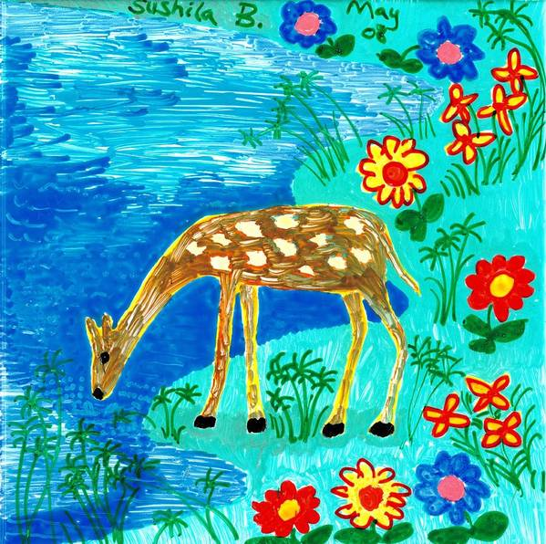 Sue Burgess Poster featuring the painting Young Deer Drinking by Sushila Burgess