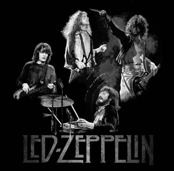 Led Zeppelin Poster featuring the painting Zeppelin by William Walts