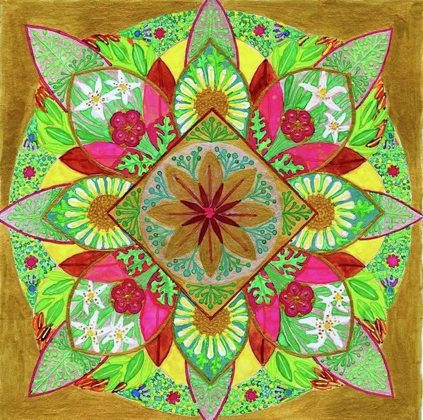 Mandala. Flowers. Garden Poster featuring the painting Flower Garden Mandala by Sandy Thurlow