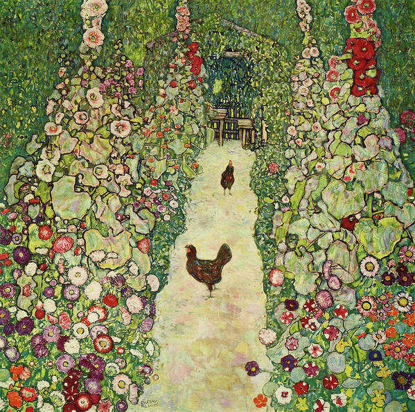 Gustav Klimt Poster featuring the painting Garden With Chickens, 1916 by Gustav Klimt