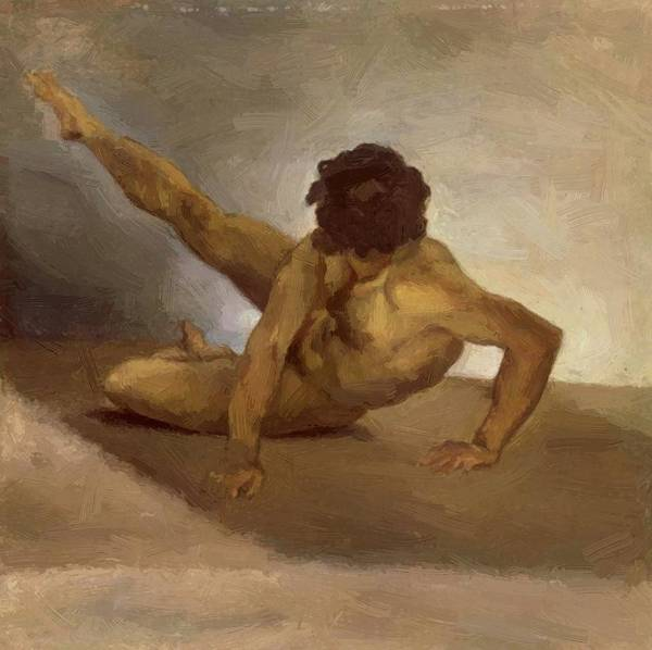 Naked Poster featuring the painting Naked Man Reversed On The Ground by Gericault Theodore