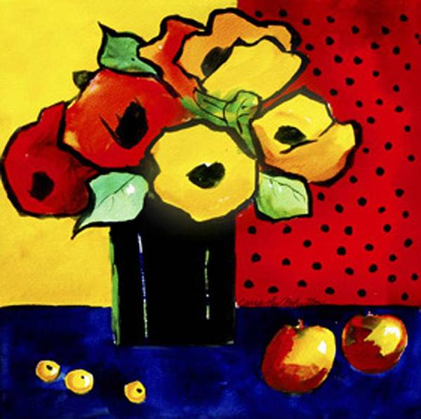 Painting Poster featuring the painting Favorite Funny Flowers 2 by Carrie Allbritton
