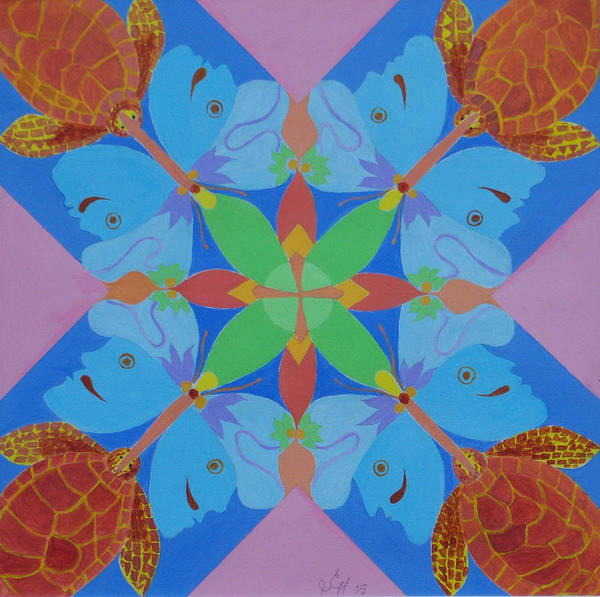 Acrylic Poster featuring the painting Turtles And Butterfly People by Seema Gill
