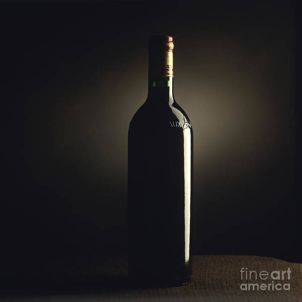 1 Object Alcoholic Alcohol Beverages Beverage Bordeaux Bottles Bottle Drink Full-lengths Full-length Indoors Indoor Indulgence Foods Indulgence Food Inside Nobody One Object Precious Red Wines Red Wine Single Object Spirituous Studio Shots Studio Shot Wine Bottles Wine Bottle Wines Wine Poster featuring the photograph Bottle Of Bordeaux Wine by Bernard Jaubert