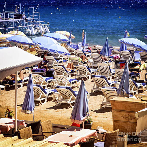 Beach Poster featuring the photograph Beach In Cannes by Elena Elisseeva