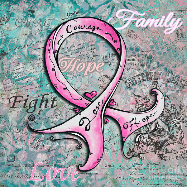 Pink Poster featuring the painting Beautiful Inspirational Elegant Pink Ribbon Design Art For Breast Cancer Awareness by Megan Duncanson