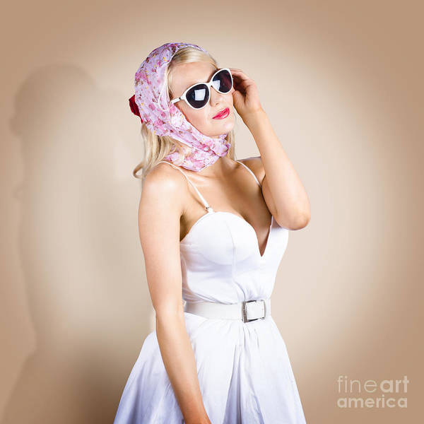 Female Poster featuring the photograph Classical Pinup Girl Posing In Retro Fashion Style by Jorgo Photography - Wall Art Gallery