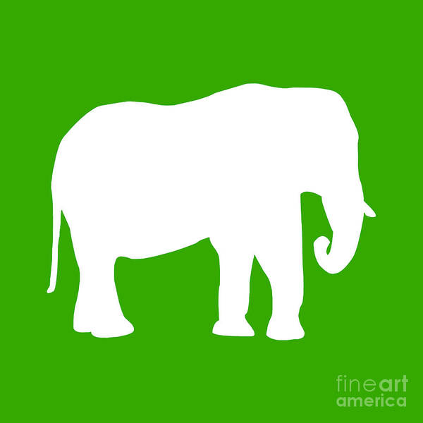 Graphic Art Poster featuring the digital art Elephant In Green And White by Jackie Farnsworth