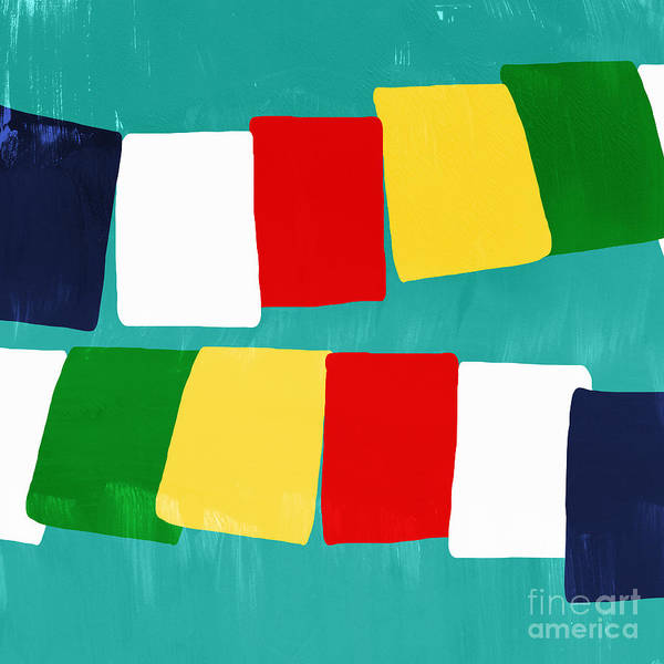 Flags Poster featuring the painting Prayer Flags by Linda Woods