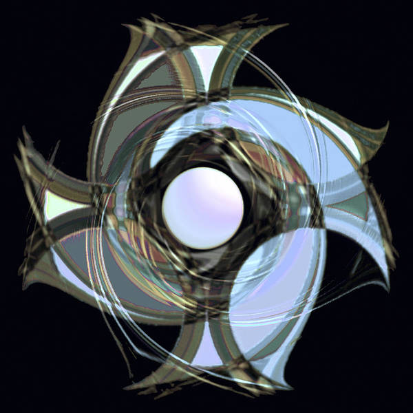 Geometric Abstract Poster featuring the digital art Spinners 7 by Warren Furman