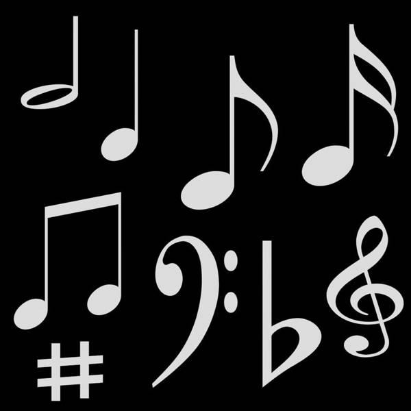 Symbol Art Dancing Music Notes Golden Sparkle Beautiful Border Multi