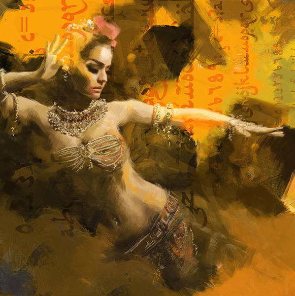 Belly Dance Art Poster featuring the painting Belly Dancer by Corporate Art Task Force