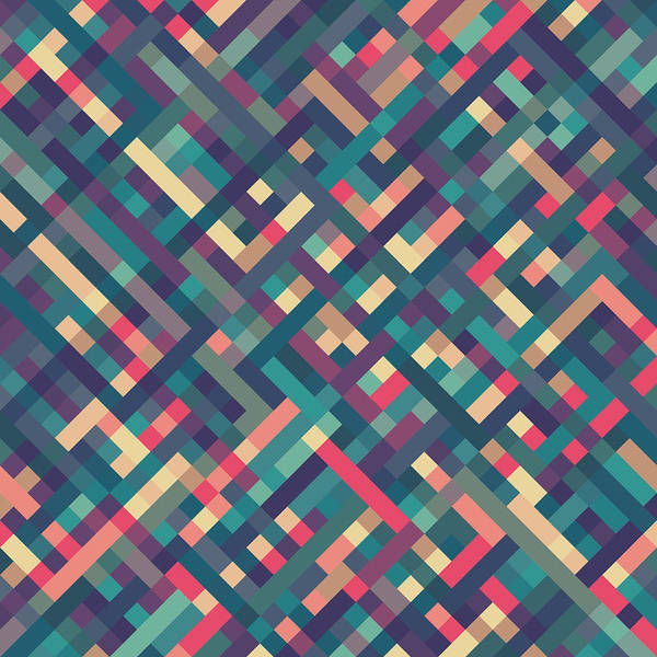 Abstract Poster featuring the digital art Pixel Art by Mike Taylor