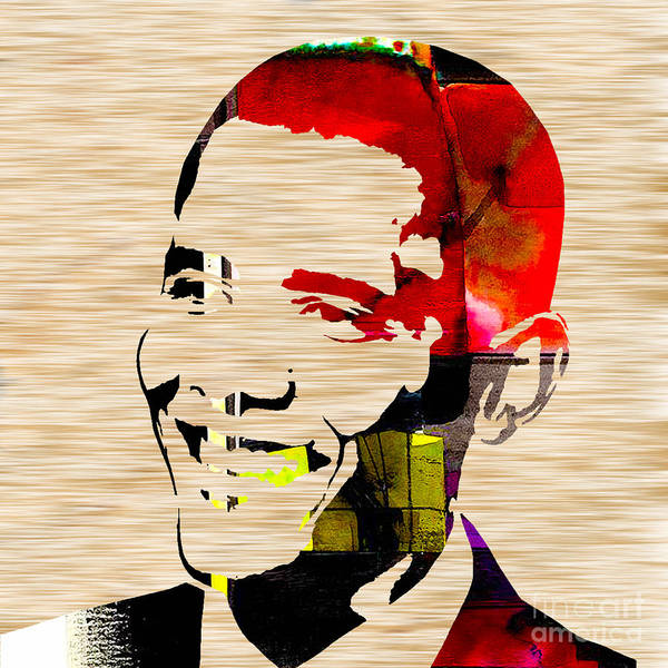 President Barack Obama Paintings Mixed Media Mixed Media Mixed Media Poster featuring the mixed media Barack Obama by Marvin Blaine