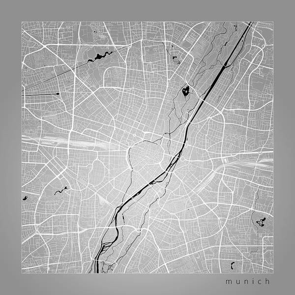 Munich Street Map - Munich Germany Road Map Art On Color Poster by ...
