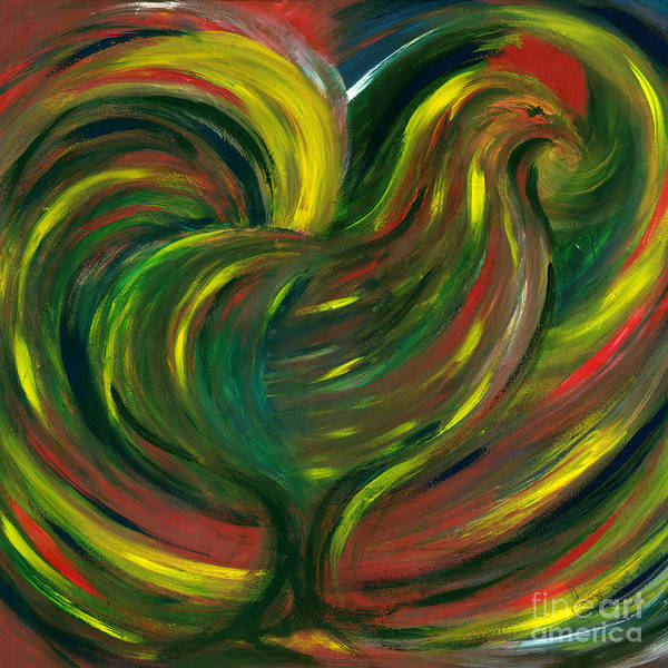 Colorfull Poster featuring the painting Rooster by Fanny Diaz