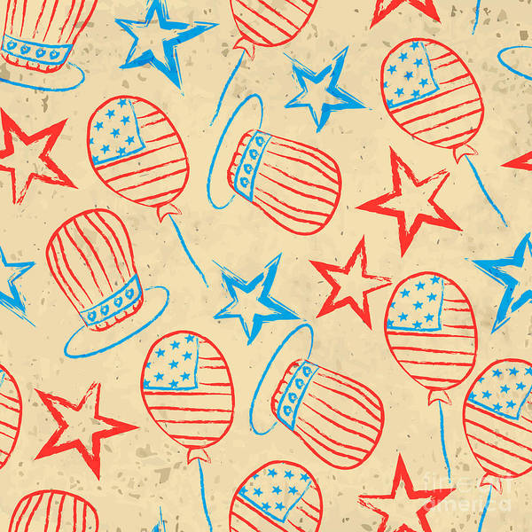 Typography Poster featuring the digital art Seamless Pattern For 4th Of July by Allies Interactive