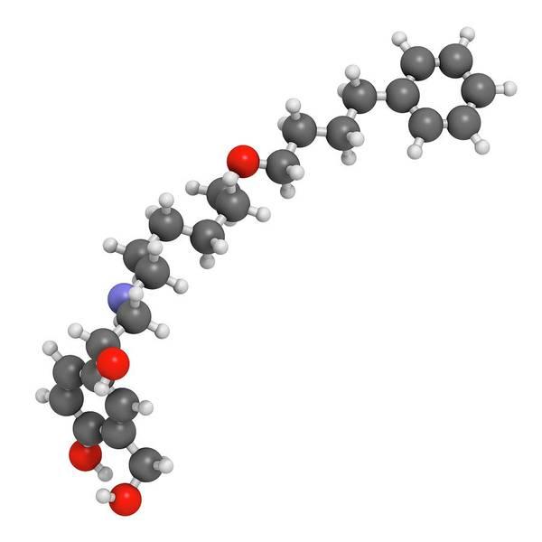Artwork Poster featuring the photograph Salmeterol Asthma Drug Molecule by Molekuul