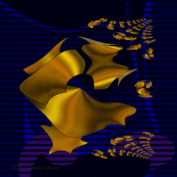 780 Poster featuring the digital art 780 - Golden Foil by Irmgard Schoendorf Welch