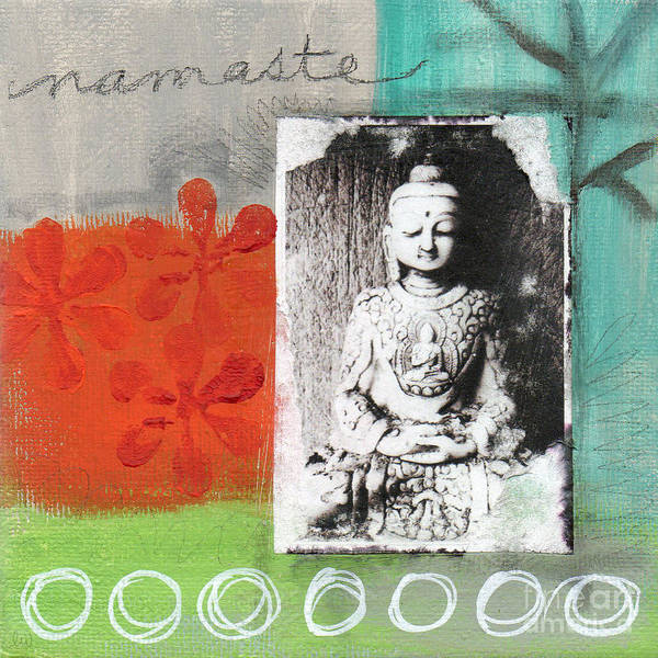 Buddha Poster featuring the painting Namaste by Linda Woods
