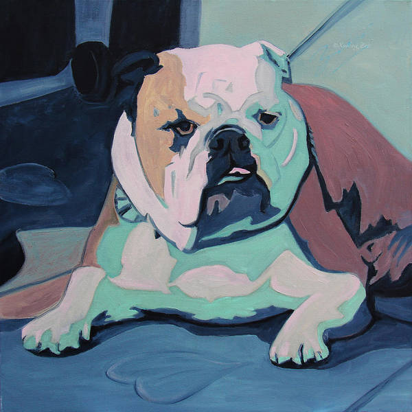 Bulldog Poster featuring the painting A Bulldog In Love by Xueling Zou