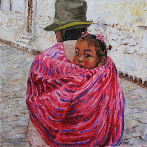 Portrait Poster featuring the painting A Bundle Buggy Swaddle - Peru Impression IIi by Xueling Zou