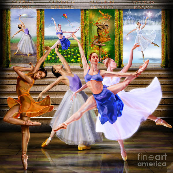 Ballet Dancers Poster featuring the painting A Dance For All Seasons by Reggie Duffie