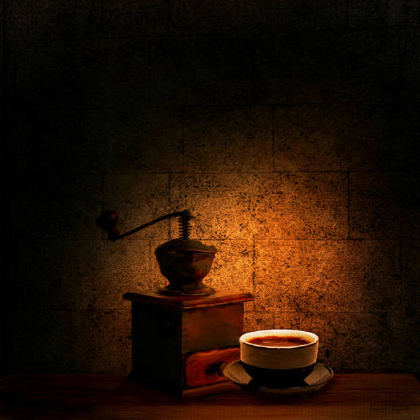 Coffee Poster featuring the digital art A Look At The Past by Lourry Legarde