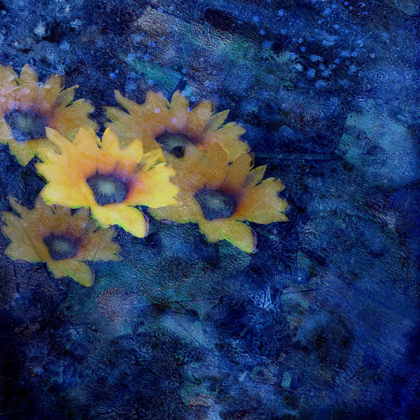 Flower Poster featuring the mixed media Abstract Daisies On Blue by Ann Powell