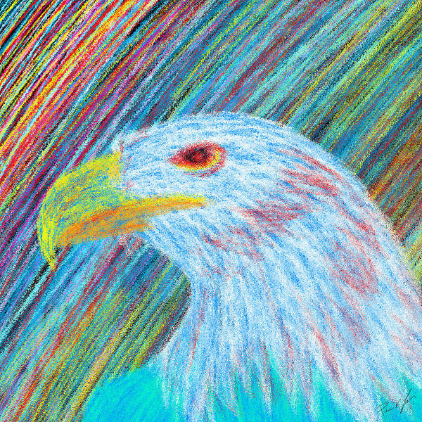 Eagle With Red Eye Poster featuring the drawing Abstract Eagle With Red Eye by Kenal Louis