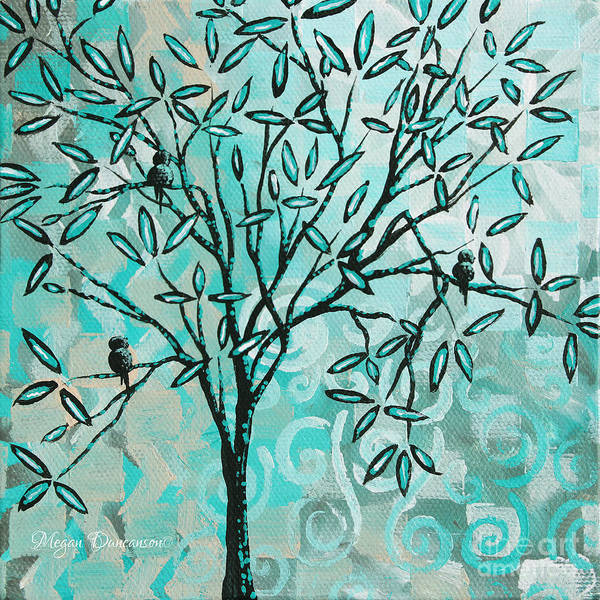 Contemporary Poster featuring the painting Abstract Floral Birds Landscape Painting Bird Haven II By Megan Duncanson by Megan Duncanson