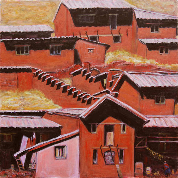 Landscape Poster featuring the painting Adobe Village - Peru Impression II by Xueling Zou