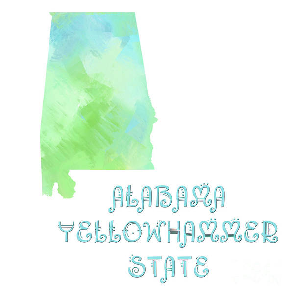 Andee Design Poster featuring the digital art Alabama - Yellowhammer State - Map - State Phrase - Geology by Andee Design