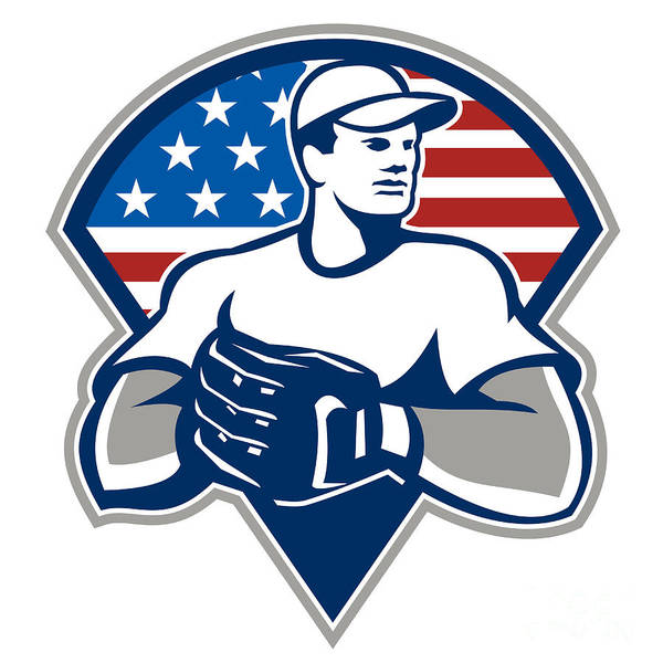 American Poster featuring the digital art American Baseball Pitcher Gloves Retro by Aloysius Patrimonio